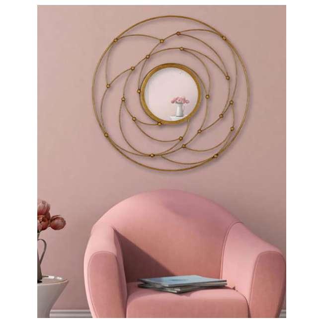 2641-P Majestic Mirror Round Contemporary Gold Leaf Metal Decorative Accent Mirror 2