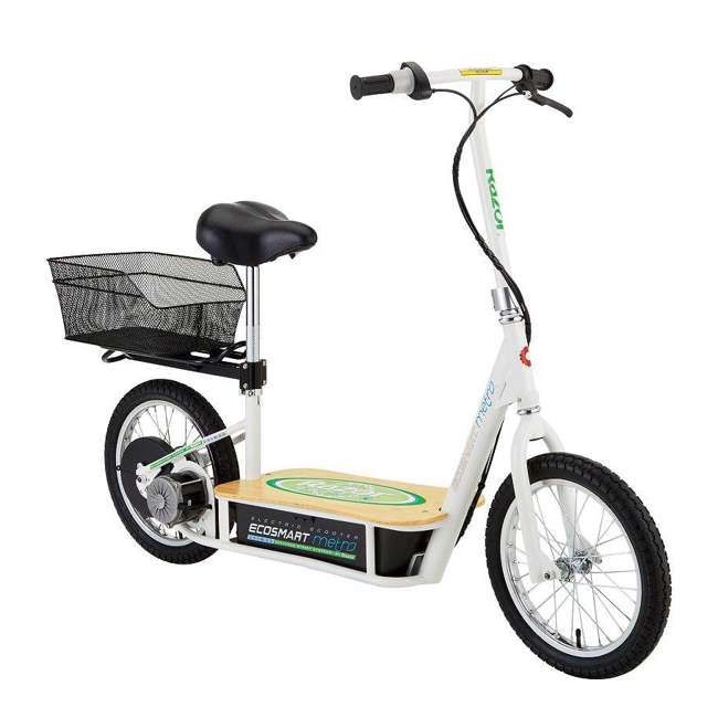 3 x 13114501 Razor EcoSmart Metro Electric Adult Scooter with Seat & Rack, Green (3 Pack) 1