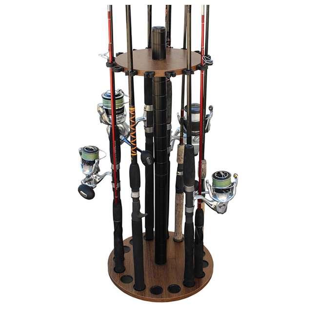 38-3028 Rush Creek Creations 38-3028 2.5ft Dark Walnut Wood 16 Fishing Rod Round Rack