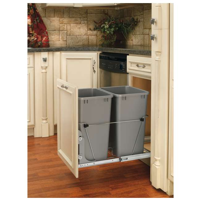 RV-18KD-17C S Rev-A-Shelf RV-18KD-17C S Double 35 Quart Pull-Out Waste Containers, Silver 1