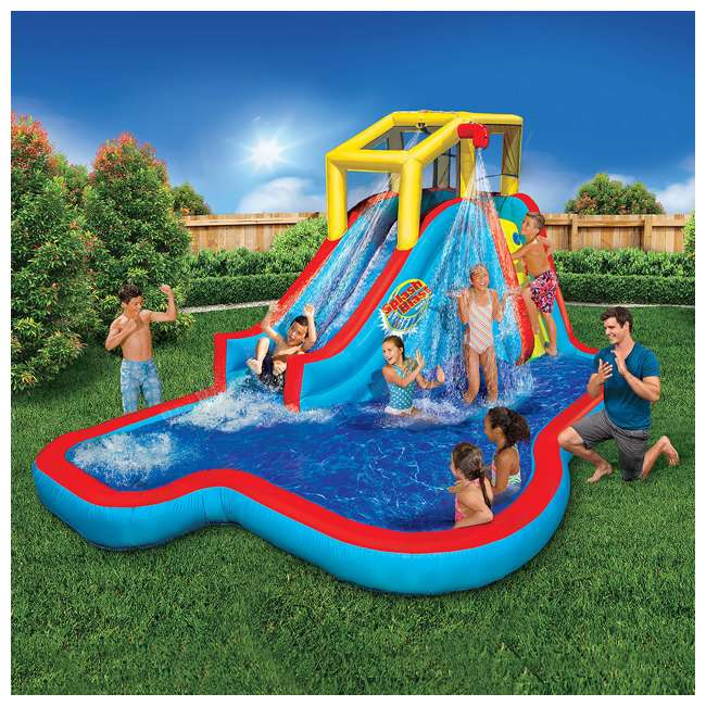 35076 Banzai Slide N Soak Splash Park Inflatable Outdoor Kids Water Park (Open Box) 1
