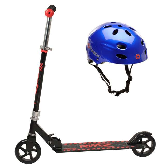 108-NXT + 97981 NextGen Scooters Foldable Scooter, Black & Razor V-17 Helmet, Glossy Blue