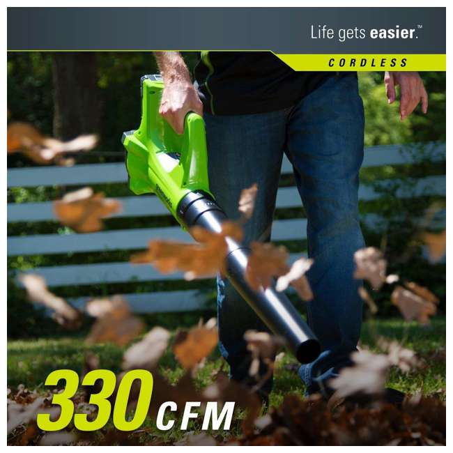 GW-1301502 Greenworks 24 Volt Battery Powered Cordless String Trimmer and Leaf Blower Combo 3