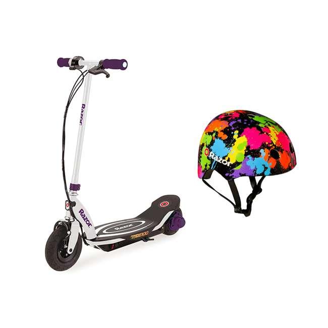 13111211 + 97913 Razor E100 Electric Hub Kids Motorized Kick Scooter With Splatter Bike Helmet