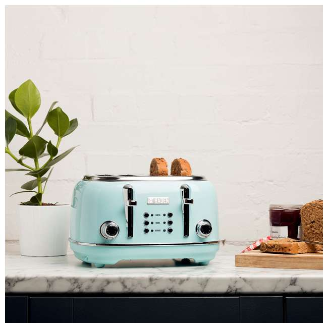 75005 Haden Heritage 4-Slice Wide Slot Stainless Steel Body Retro Toaster, Turquoise 1