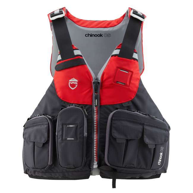 40071.01.103 NRS Chinook OS Type III Fishing Life Vest PFD with Pockets, Large/X Large, Red