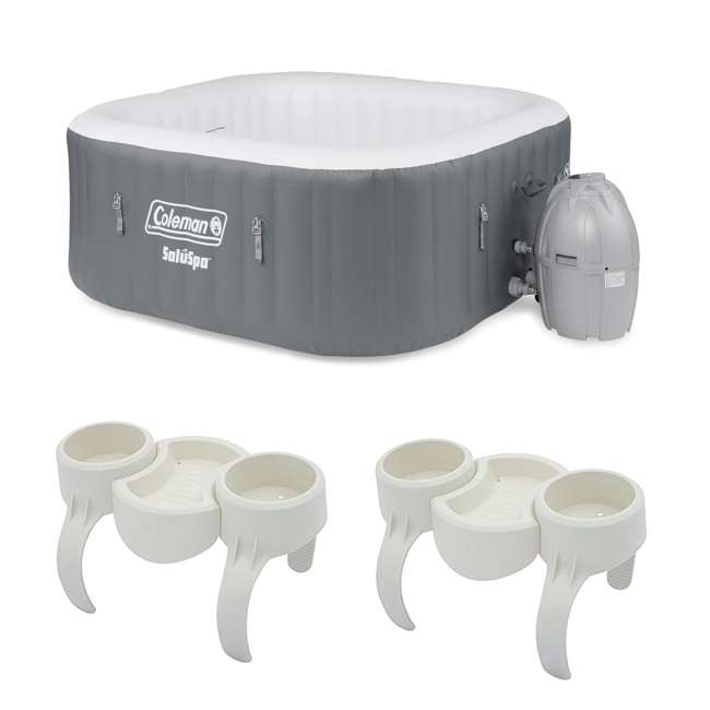 15442-BW + 2 x 58416-BW Coleman 4 Person Portable Inflatable Hot Tub & Plastic Drinks Holder (2 Pack)