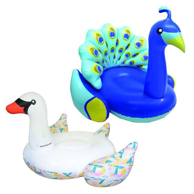 SL-90719M + 90705 Giant Inflatable Swan Pool Float Bundled w/ Inflatable Peacock Pool Float