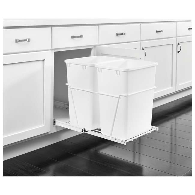 RV-18PB-2 S Rev-A-Shelf RV-18PB-2 S Double 35 Quart Pull-Out Kitchen Waste Containers, White 1