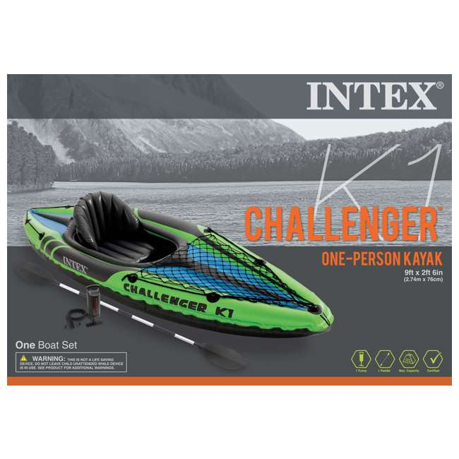68305EP Intex Challenger K1 1-Person Inflatable Kayak With Oars And Pump 4