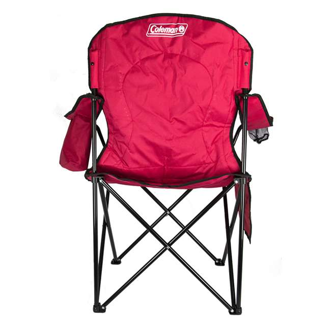 2000032009 + 2 x 2000032008 Coleman Folding Chair w/ Cooler & Cup Holder, Red & Blue (4 Pack) 3