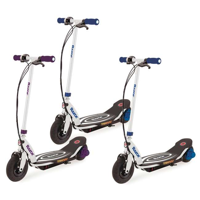 13111211 + 2 x 13111210 Razor Power Core E100 Kids Electric Battery Power Scooter, Purple/Blue (3 Pack)