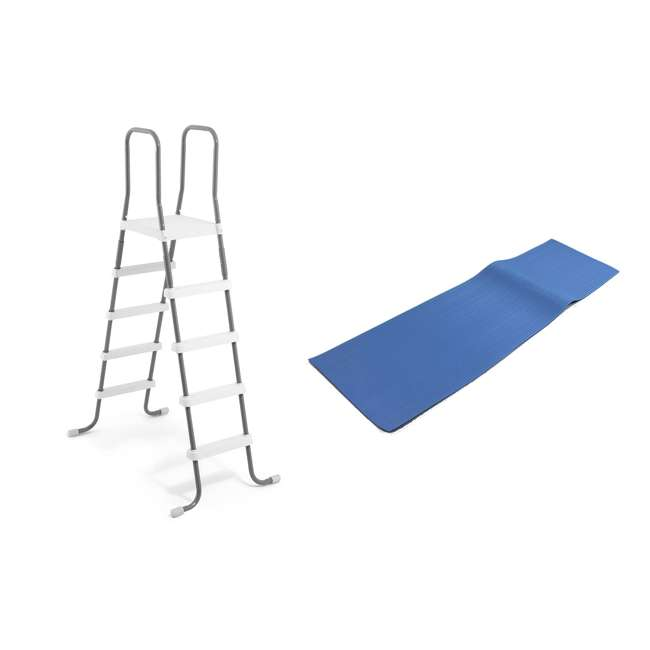 28067E + 87953 Intex Steel Frame Above Ground Pool Ladder + Protective Swimming Pool Ladder Mat