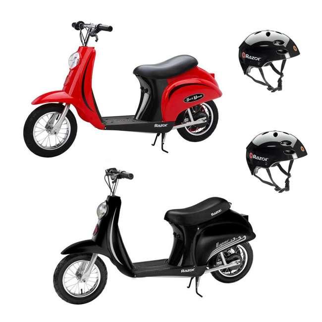 15130656 + 15130601 + 2 x 97778 Razor Pocket Mod Miniature Electric Scooters, 1 Red & 1 Black + Helmets