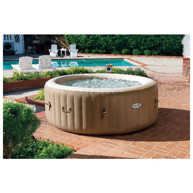 intex pure spa 4 person inflatable portable hot tub with 6 filter cartridges 28403e 3 x 29001e. Black Bedroom Furniture Sets. Home Design Ideas