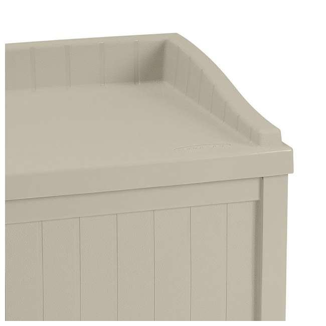 SS1000 Suncast 22-Gallon Outdoor Deck Box with Seat, Light Taupe (2 Pack) 4