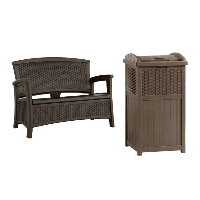 BMWB5000 + GHW1732 Suncast Loveseat with Storage Area & Trash Hideaway 33 Gallon Capacity Container