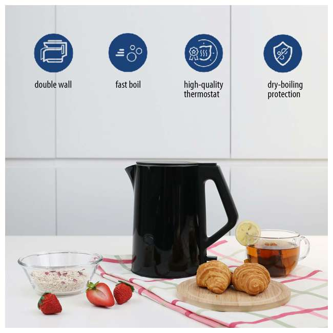 MK-15H01A1B Comfee' Stainless Steel Double Wall Cool Touch Cordless Electric Kettle, Black 6