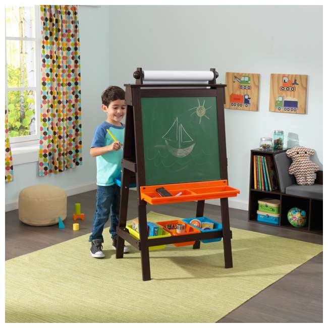 62043 KidKraft Kids Chalkboard & Whiteboard Art Easel with Paper Roll, Espresso 2