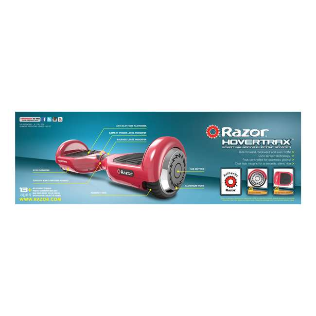15156262 Razor Hovertrax 1.0 Hoverboard Electric Hover Smart Board, Red 3