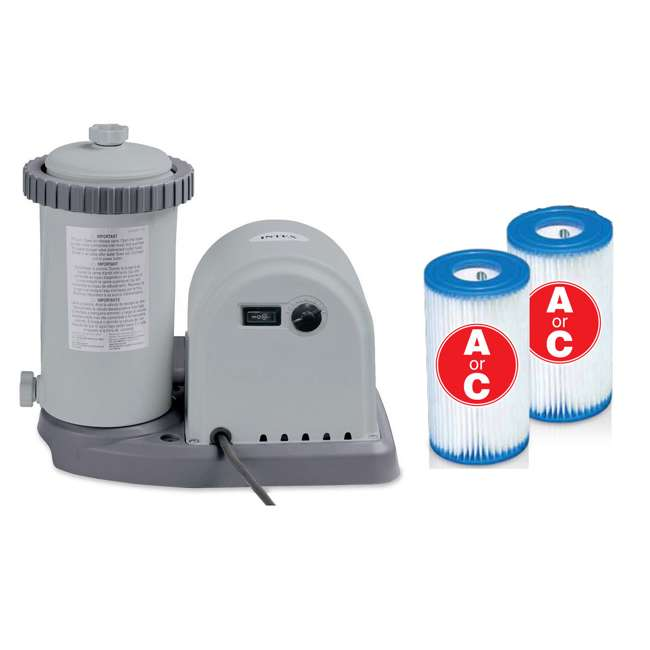 28635EG + 29002E Intex 1500 GPH Pool Filter Pump & A/C Filter Cartridges (2 Pack)