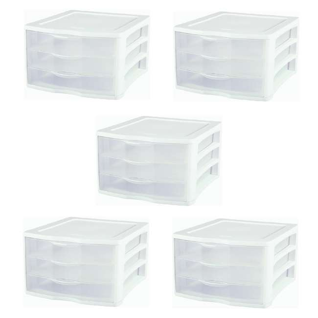 5 x 17918004 Sterilite ClearView Compact Portable 3 Storage Drawer Organizer Cabinet (5 Pack)