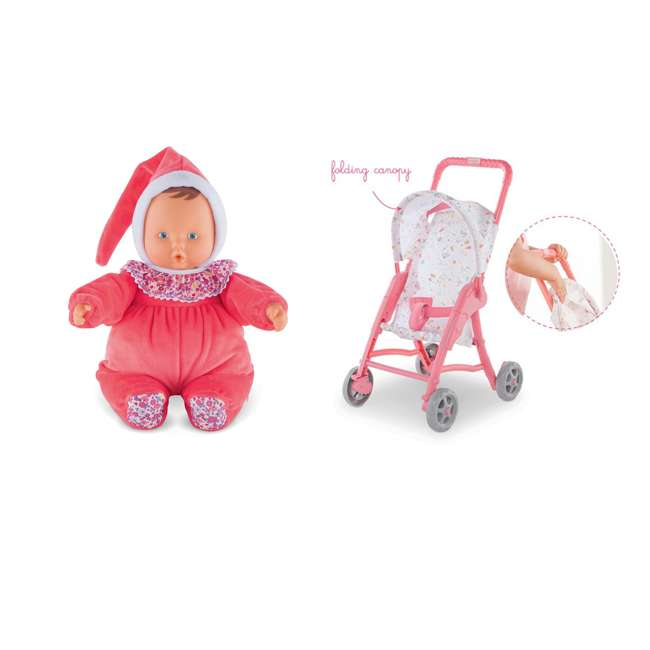 """FBD05 + FRN90 Corolle Mon Doudou Babipouce Floral Bloom 11"""" Soft Body Doll and Canopy Stroller"""