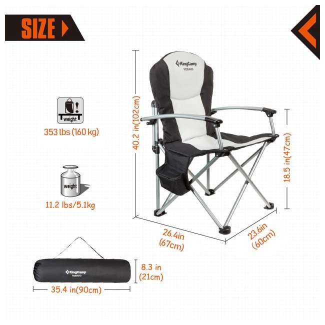 KC398700020000 KingCamp Heavy Duty Steel Padded Camping Director Folding Chair with Cooler Bag 2
