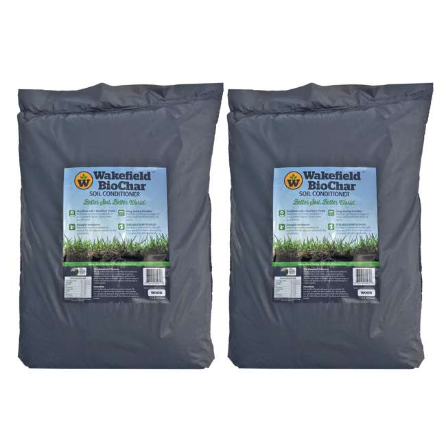 WFBCSC-BAG-40 Wakefield 1 Cu Ft Bag Premium Biochar Organic Garden Soil Conditioner (2 Pack)