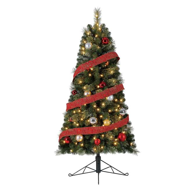 TG50M2AKML00 Home Heritage Cashmere 5 Foot Artificial Christmas Half Tree with LED Lights 2