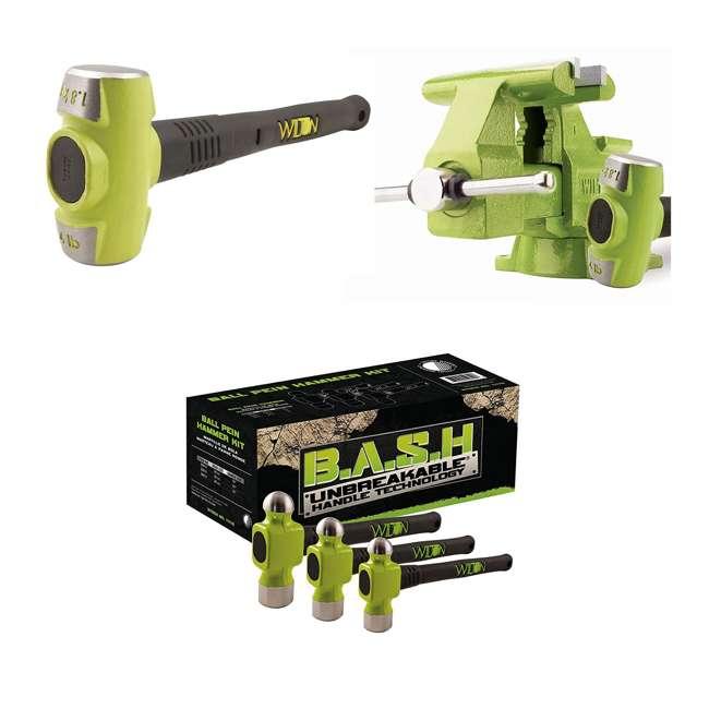 JPW-11128BH + JPW-11110 Wilton Bash 6.5 Inch Vise And 12 Inch Hammer + 3 Piece Grip Ball Peen Hammer Kit