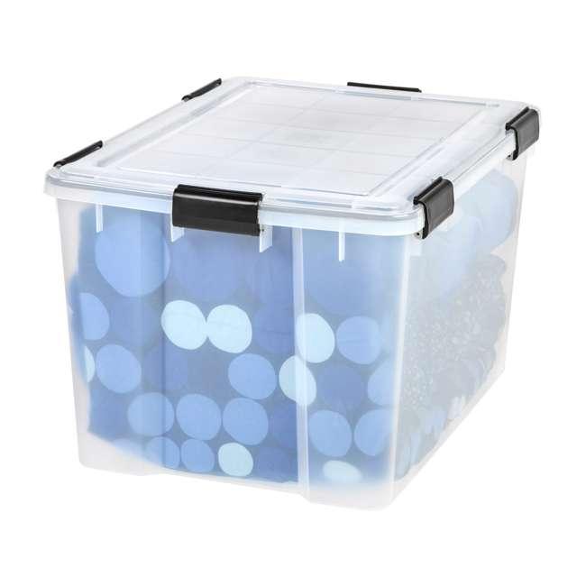 585855-4PK IRIS USA Weathertight 74 Quart Buckle Down Storage Box Container, Clear (4 Pack) 4