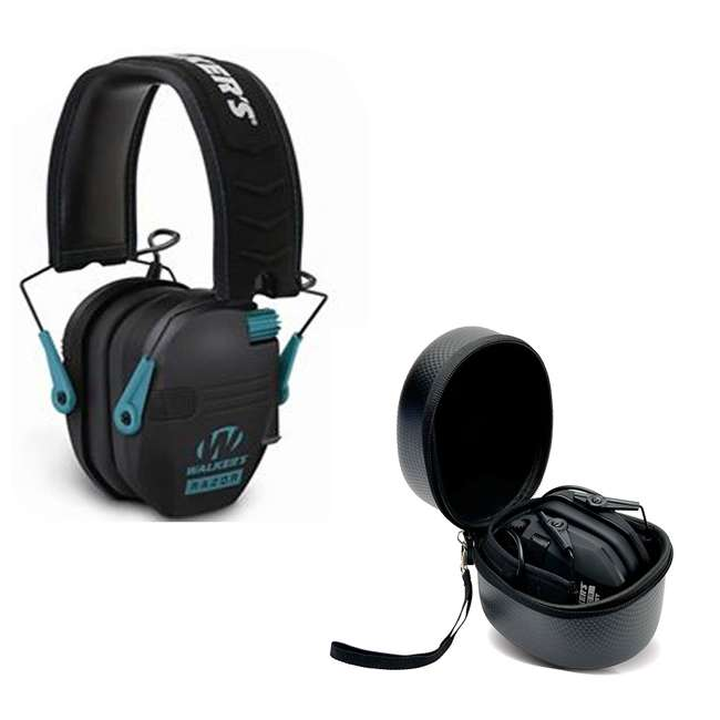 GWP-RSEM-TL + GWP-REMSC Walkers Electronic Bluetooth Ear Muffs (Black & Teal) & Storage Carrying Case