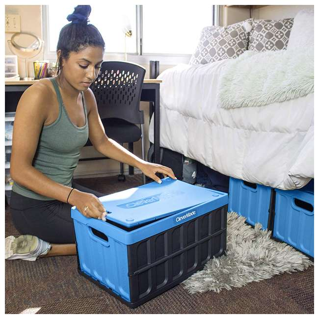 8034119-21843PK CleverMade Durable Stackable 62L Collapsible Storage Bins, Neptune Blue (3-Pack) 6