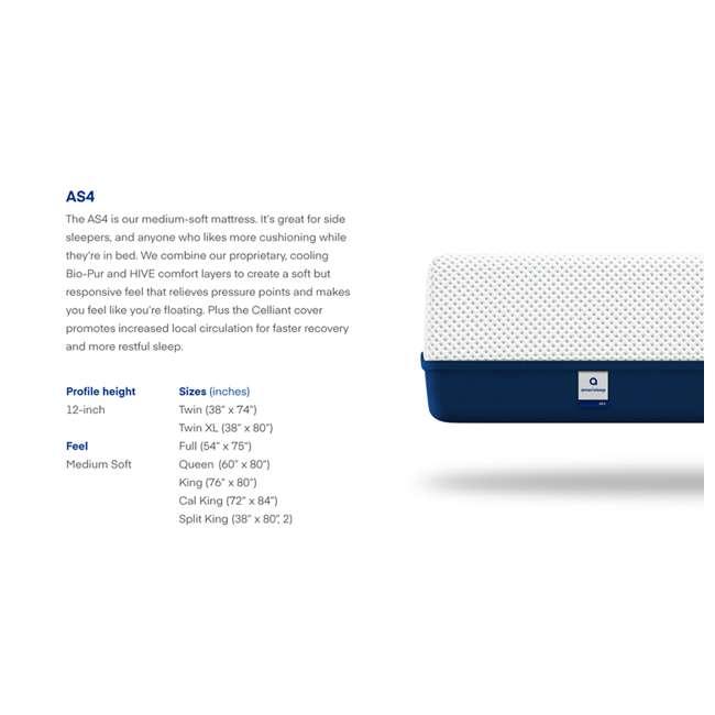 AS4-K Amerisleep AS4 Medium Softness Bio Core Plush Foam King Size Mattress, White 7