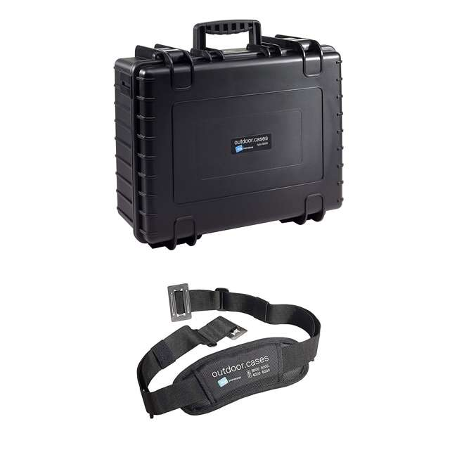 6000/B/RPD + CS/3000 B&W International Type 6000 Plastic Outdoor Storage Case, Black & Shoulder Strap