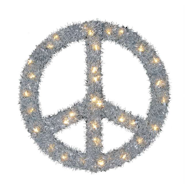 TR1AAB032L01 Home Heritage 22 Inch Pre Lit Artificial Holiday Christmas Peace Sign Wreath