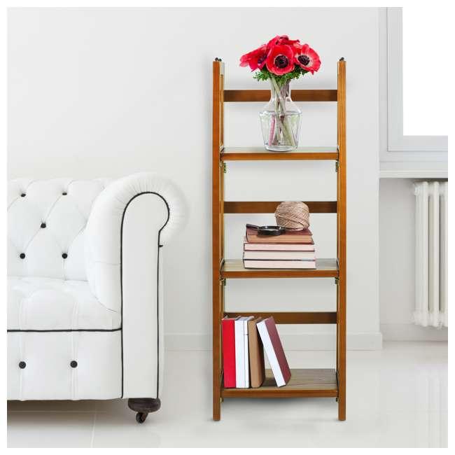 331-35 Casual Home 3 Shelf 14 Inch Folding Office Wood Furniture Bookcase, Honey Oak 6