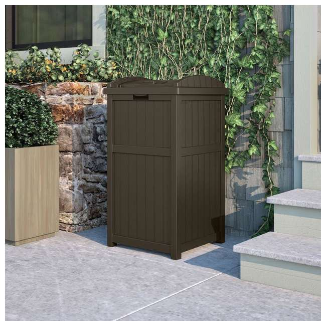 GH1732J-U-A Suncast Trash Hideaway Outdoor Garbage Bin, Java (Open Box) (2 Pack) 2