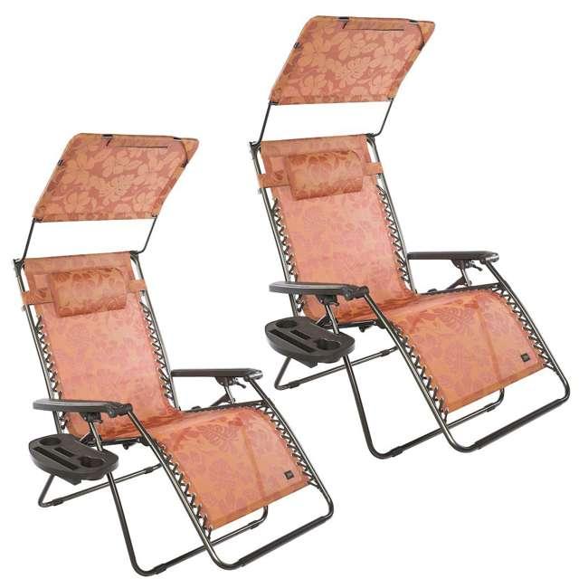 GXW-455TCr Bliss Hammocks 33 Inch XXL Zero Gravity Chair with Canopy, Terracotta (2 Pack)