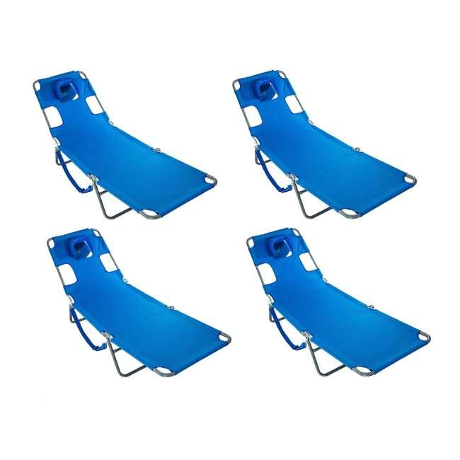 4 x CHS-1002B Ostrich Chaise Lounge Folding Portable Sunbathing Poolside Beach Chair (4 Pack)