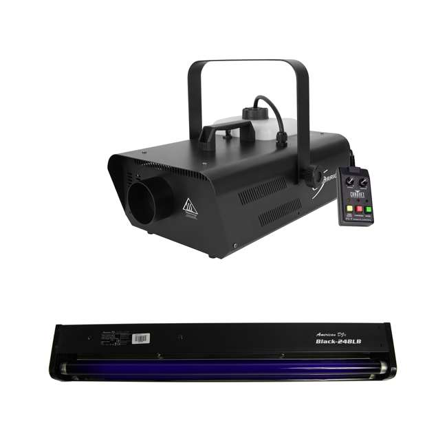 "H1302 + BLACK-24BLB Chauvet DJ Smoke Fog Machine w/Wired Remote w/ American DJ 24"" 20W Black Light"
