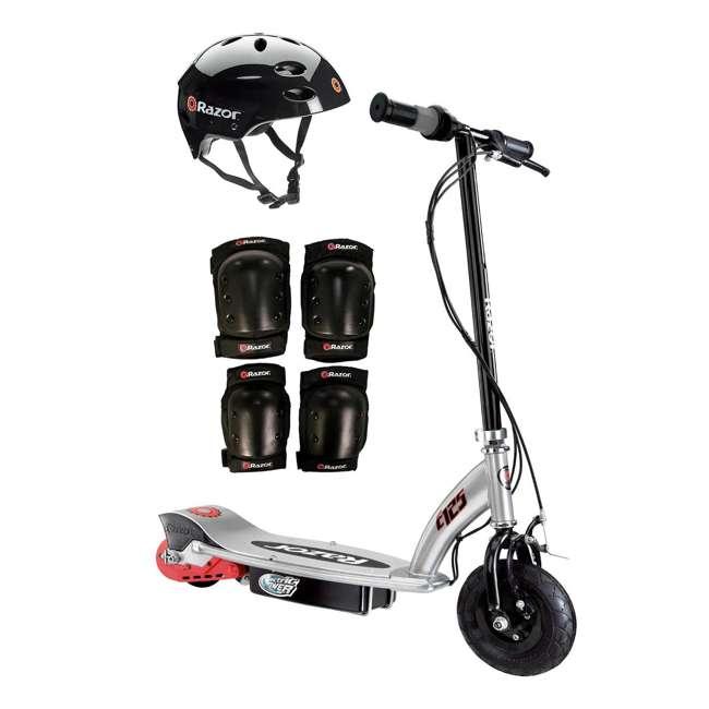 13125E-BK + 97778 + 96785 Razor E125 Motorized 24-Volt Scooter, Black + Youth Helmet + Elbow & Knee Pads