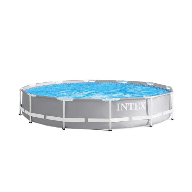 26710EH + 29022E + 28601EG + 2 x 29007E Intex 12 Ft x 30 In Steel Frame Pool | Cover | Filter Pump | H Cartridge 2 Pack 1