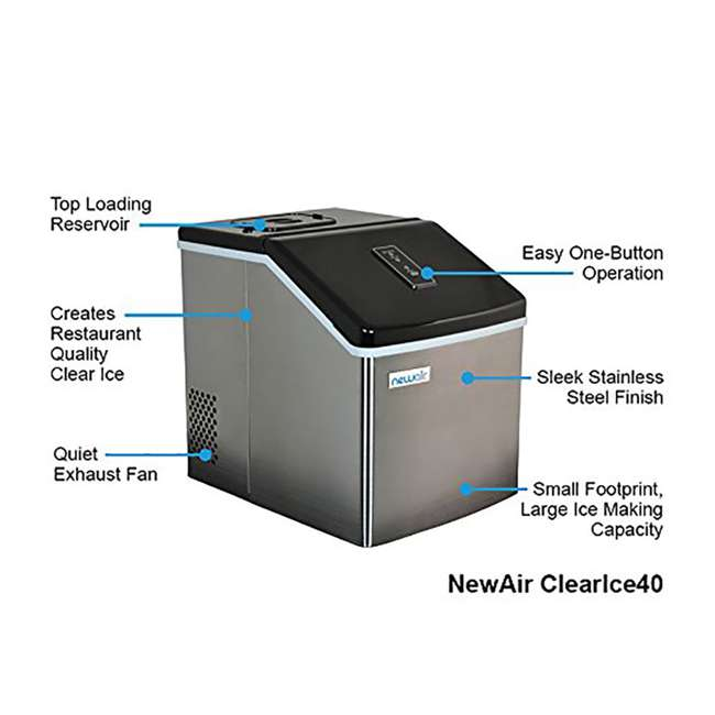 CLEARICE40 NewAir Counter-Top Clear Ice Maker Machine, Stainless Steel 5