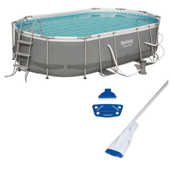 56655E-BW + 58422E-BW Bestway Power 16x10x3.5 Foot Above Ground Pool Set w/ Pump & Powercell Vacuum