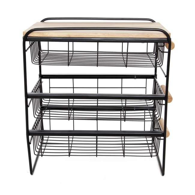 RA3TS-WB-BL Origami Kitchen Countertop 3-Drawer Wood Top Organizer, Black 2