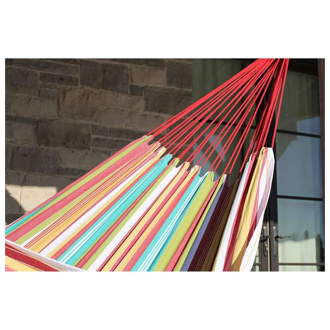 BRAZ126 Vivere Brazilian Style Cotton One Person Outdoor Backyard Patio Hammock, Salsa 2