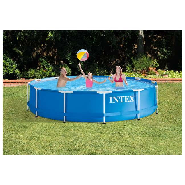 "28211EH + 28031E + 28002E Intex 12' x 30"" Metal Frame Above Ground Pool, Filter, Cover, & Maintenance Kit 2"