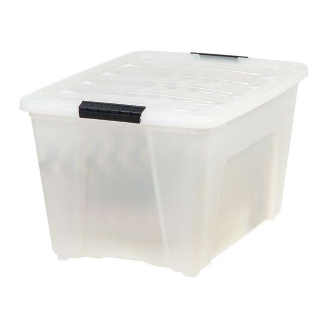6 x 100299 IRIS 53 Qt Stack & Pull Storage Lidded Container Box Bin System, Pearl (6 Count) 1